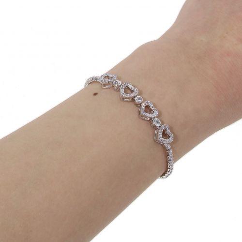 Bracelet rhinestone ajustable heart rhinestone PERONNE