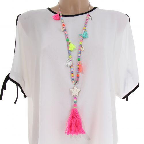 Sautoir à perles et pompons coloré HILARIE