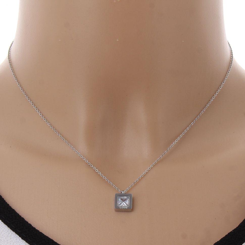Collier acier inoxydable, cristal de zirconium