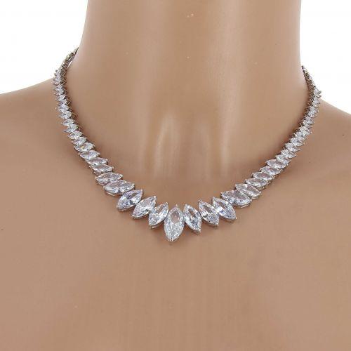 Parrure Collier et Boucles d'oreilles femme Cristal de Zirconium Swarovski doré à l'OR, BELINE