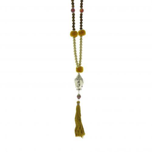 "Lange Halskette 80 cm ""Buddha Kopf"" LYA"