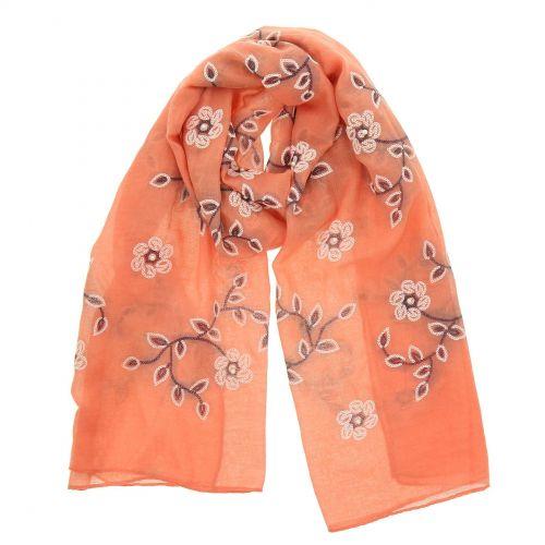 Damen Schal blumen, perlen und gestickten, CANELLE