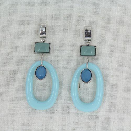 orecchie forate turchese acciaio Lilwenn