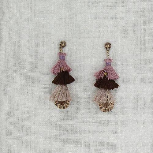 Boucles d'oreilles pendantes pompons à franges, ZAFIRO