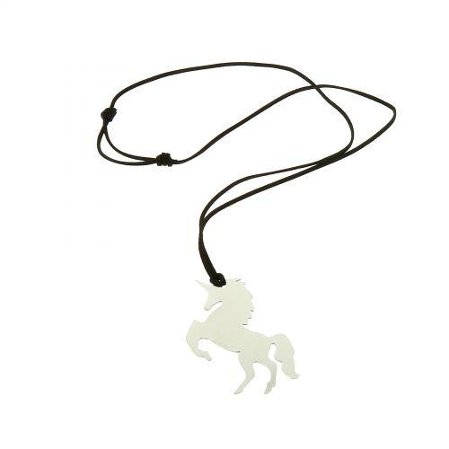 Lange Damen-Halskette mit Herz Einhorn Anhänger aus Edelstahl, LOLINE