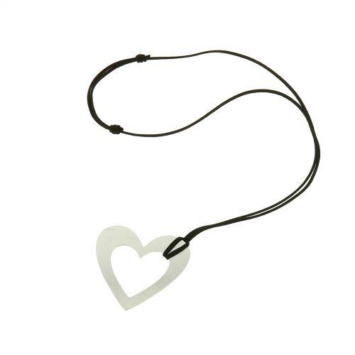 Lange Damen-Halskette mit Herz Anhänger aus Edelstahl, HELYNA