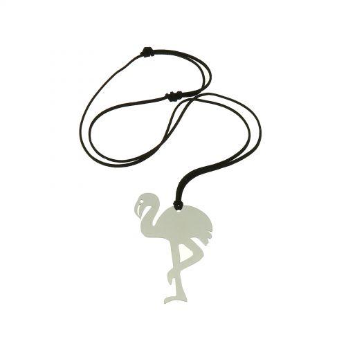Lange Damen-Halskette mit FLAMINGO ROSA Anhänger aus Edelstahl, LAULIA