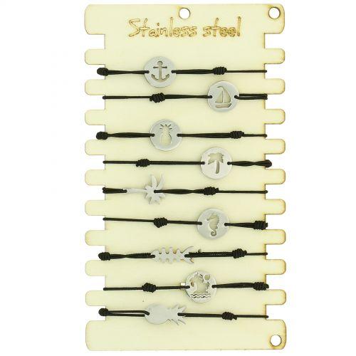 Pack de 10 x bracelets élastiques en Acier inoxydable sur présentoir en bois