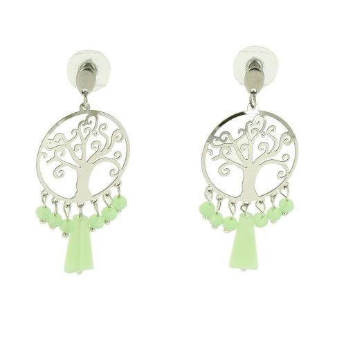 Beaded earrings, stainless steel tree of life MARY