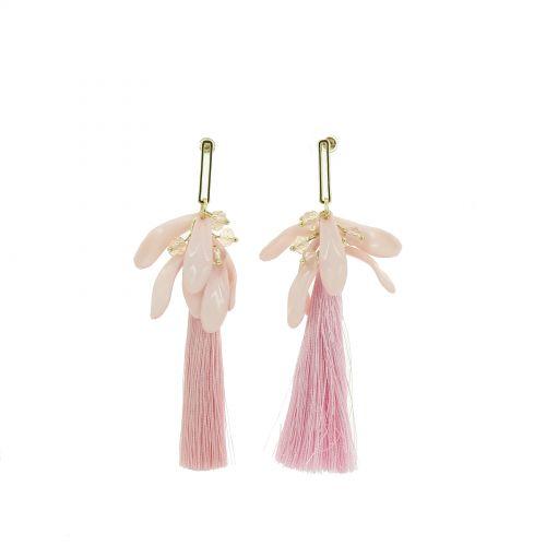 Boucles d'oreilles pendantes pompons à franges, Samantha