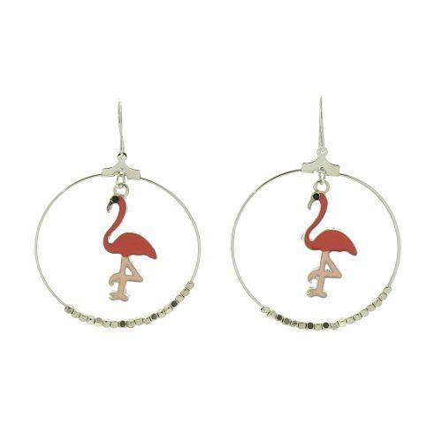 Greater flamingo dangle earring, IRIS