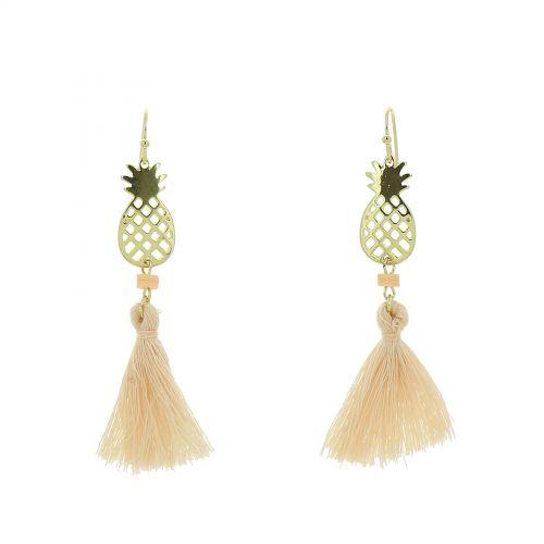 Damen Lange Quaste Fransen Ohrringe mit Ananas, SANDRA