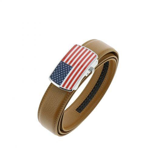 Ceinture cuir doublé cuir pour homme, drapeau americain STEVEN