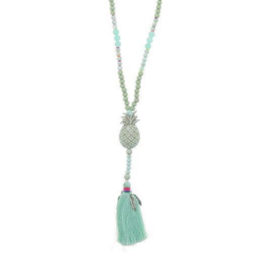 Sautoir à perles à pendentif résine ananas JOAN