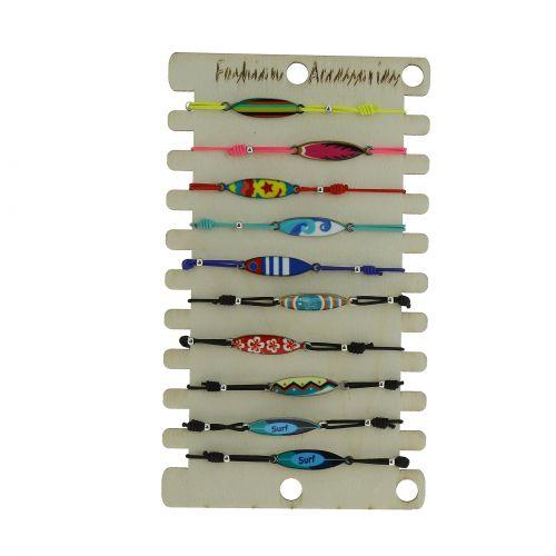Pack de 9 x bracelets élastiques, planches de surf, Acier inoxydable sur présentoir en bois