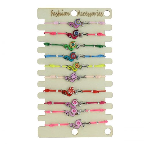 Pack de 10 x bracelets élastiques, Flamand Rose, Acier inoxydable sur présentoir en bois