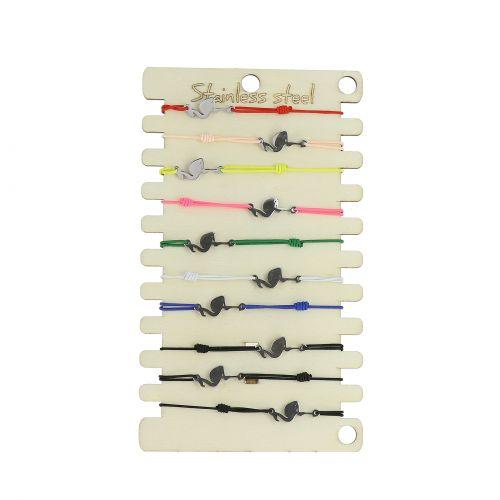 Pack de 10 x bracelets élastiques Flamand rose, Acier inoxydable sur présentoir en bois