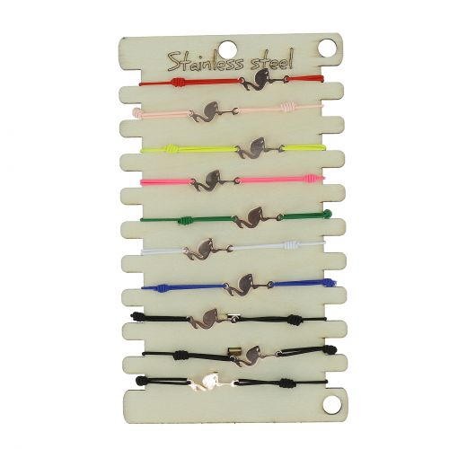 Pack de 10 x bracelets élastiques Flamand rose, Acier inoxydable doré rose sur présentoir en bois