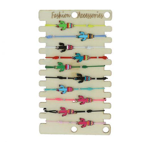 Pack de 10 x bracelets élastiques Cactus coloré, Acier inoxydable doré rose sur présentoir en bois