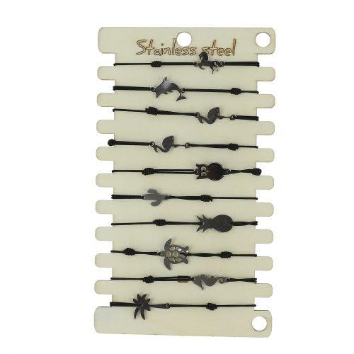 Pack de 10 x bracelets élastiques Acier inoxydable Argenté sur présentoir en bois