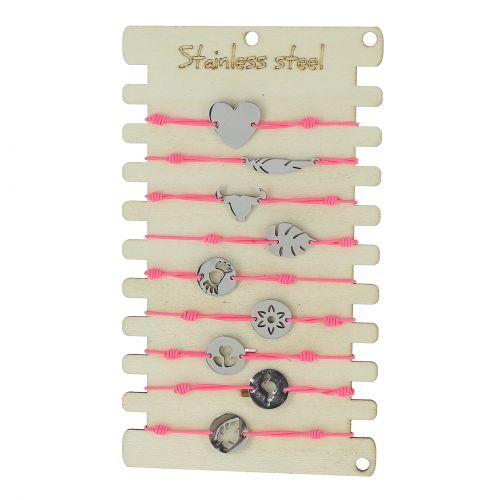 9 x bracelets élastiques Acier inoxydable sur présentoir en bois