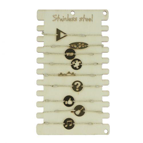 Pack de 10 x bracelets élastiques Acier inoxydable sur présentoir en bois