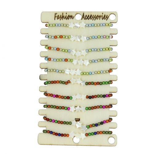 Pack de 10 x bracelets élastiques à perles, Acier inoxydable Argenté sur présentoir en bois