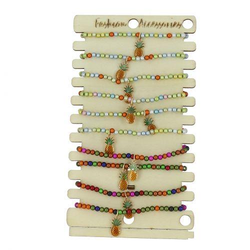 10 x bracelets élastiques Ananas et perles sur présentoir en bois