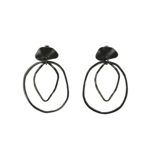 Damen Ohrringe Lange Türkis und Feder, PAGE