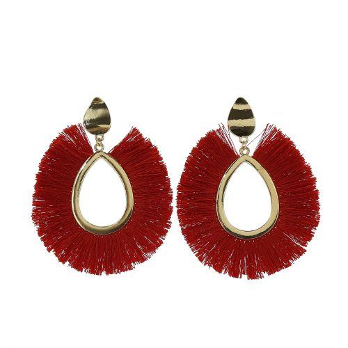 Woman Hanging tassel earring, AMBER