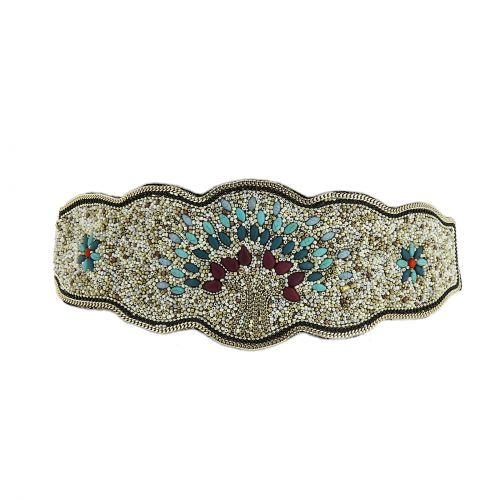Ceinture élastique large à mosaique de perles fait à la main Arbre de vie, ceinture de costume, LUCILE