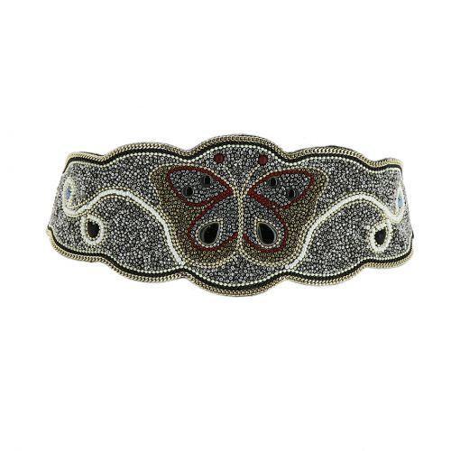 Ceinture élastique large à mosaique de perles fait à la main Papillon, LANA