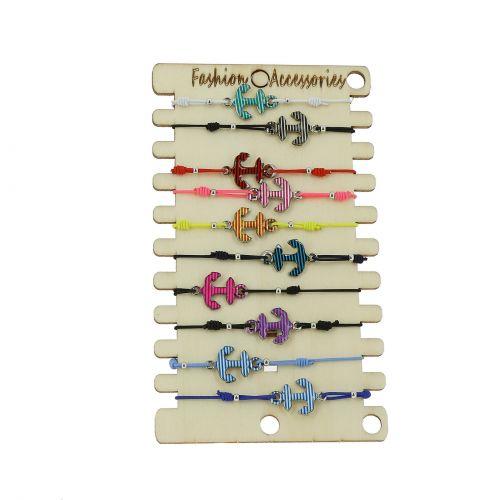 10 x bracelets élastiques ancres et perles sur présentoir en bois