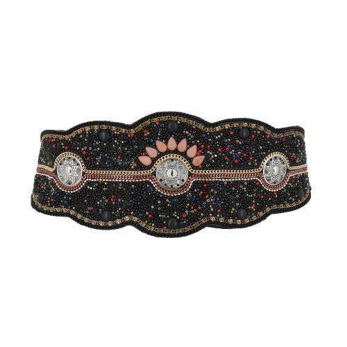 Ceinture élastique large à mosaique de perles fait à la main, CLARISSE