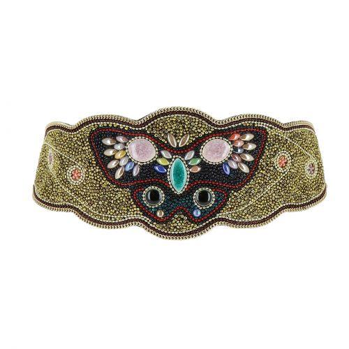 Ceinture élastique large à mosaique de perles fait à la main Papillon, BERNICE