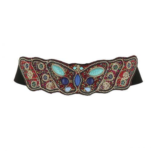 Ceinture élastique large à mosaique de perles fait à la main Papillon