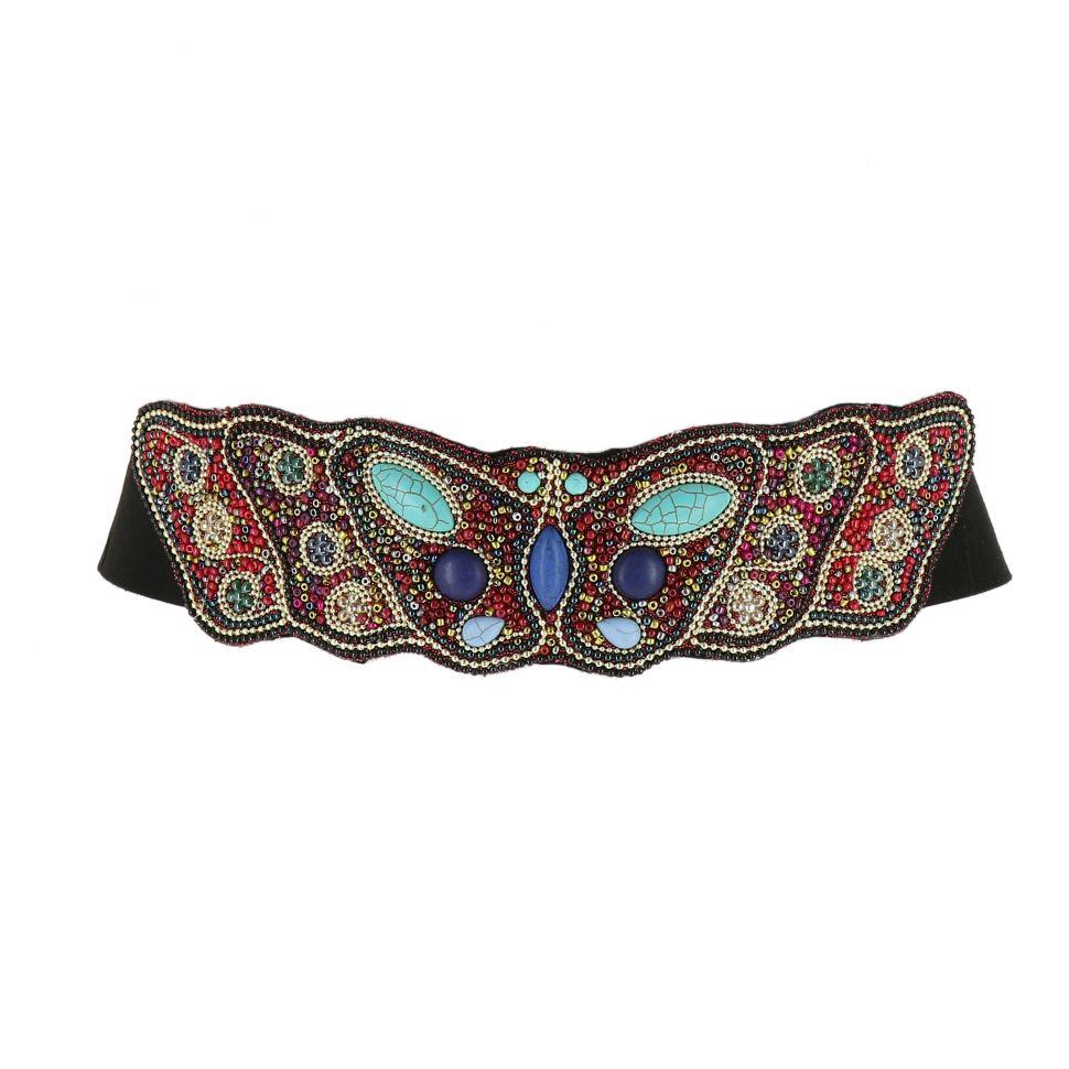 nuevo producto 04f09 7c590 mayorista Cinturón Elástico perlas Ancha Etnico Mariposa para Mujer RONDA