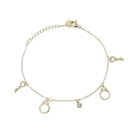 Bracelet femme en acier inoxydable, menotte, CRISTIE