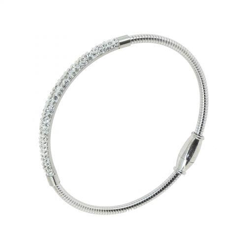 Bracelet en acier inoxydable à strass de zirconium, DEBBIE