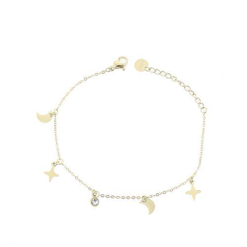 Bracelet femme étoile polaire et strass en acier inoxydable, KIMBERLY