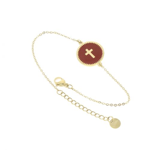 "Bracelet femme ""croix"" acier inoxydable adjustable, FANNY"