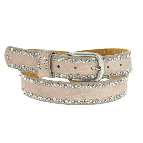 Rhinestone and studded leather woman belt, CAPUCINE