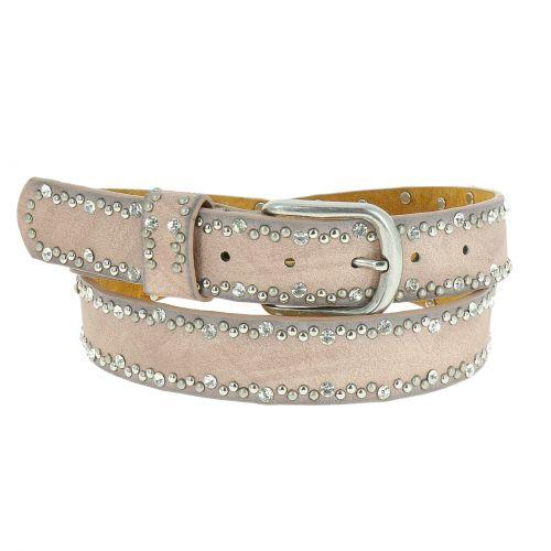 Rhinestone and studded leather woman belt, CAPUCINE