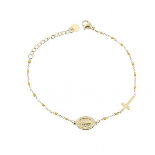 Bracelet femme acier inoxydable adjustable feuille, FLORENCE