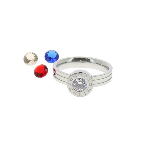 Anello da donna con 4 cristalli in acciaio inox OYA