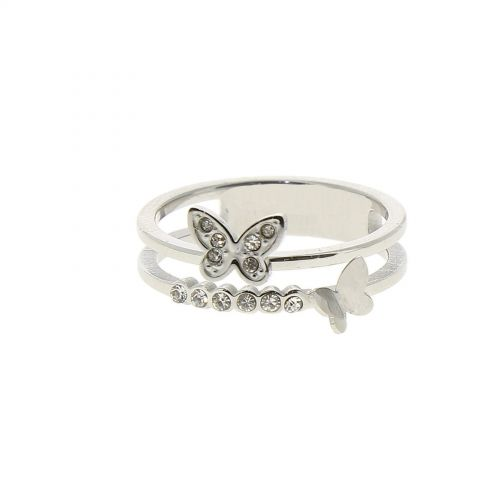 Ring stainless steel, rhinestone Butterfly