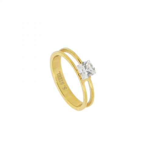 Ring stainless steel, Rhinestone Gold