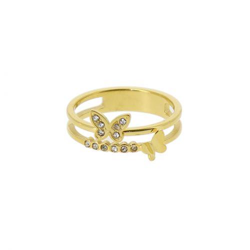 Damen edelstahlringe, Strass Schmetterling Gold