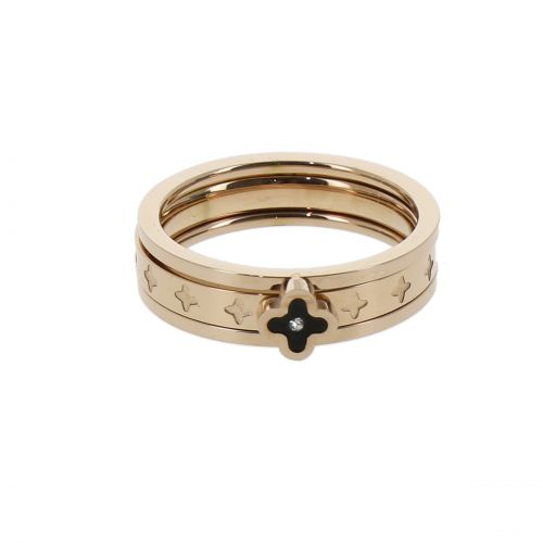 Ring stainless steel, Clover Rhinestone LESLIE Pink Gold