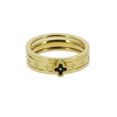 Ring stainless steel, Clover Rhinestone LESLIE Gold